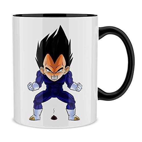 Okiwoki Mug avec Anse et intérieur de Couleur (Noir) - Parodie Dragon Ball Z - DBZ - Végéta - Super Caca Vol.2 (Mug de qualité supérieure - imprimé en France)