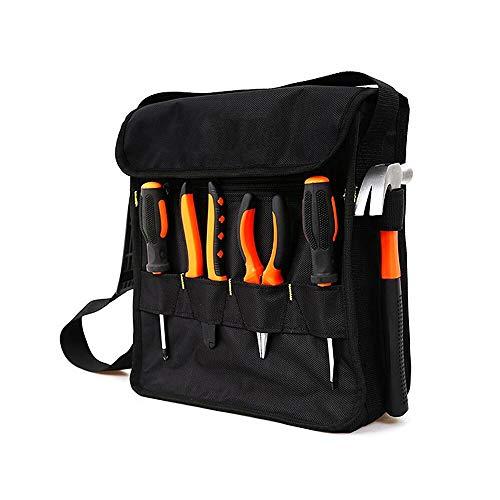 Copechilla bolsa herramientas cuadrada negra nailon Oxford impermeable de doble capa gruesa resistente al desgaste con bandolera ajustable,Alta capacidad,Durable-fuerte,Bolsillo para archivos separado