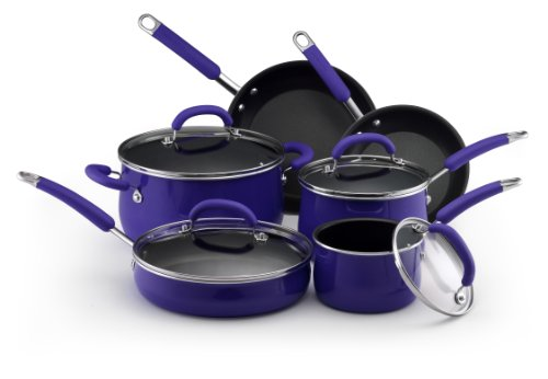 Rachael Ray Porcelain Nonstick Cookware 10-Piece Cookware Set, Blue