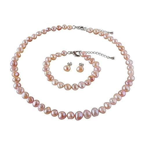 DSJTCH Conjuntos de Joyas de Perlas de 8 a 9 mm 925 Conjuntos de Perlas de Plata esterlina Collar/Pendientes/Pulsera for Mujeres (Gem Color : Black, Length : 45cm)