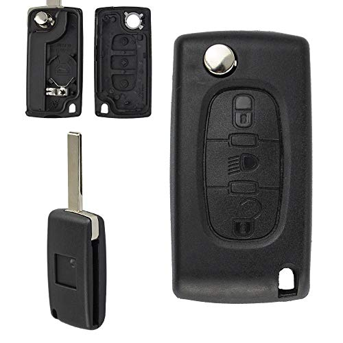 DFCVB Para Peugeot 206 407 307 607 para Citroen C2 C3 C4 C5 C6 berlingo remoto llave caso 2/3 botones LightHU83CE0536