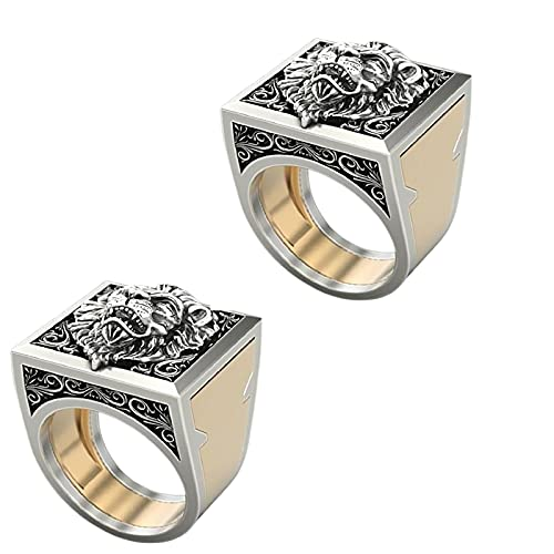 Retro Punk hombres anillo conjunto compartimiento secreto doble capa ataúd reino león hip hop anillo hombres punk Viking joyería anillos hombres pueden abrir anillo cajón 8