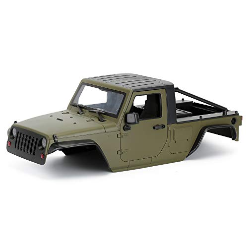 INJORA RC Car Pickup Body Shell 12.3in 313mm Wheelbase Unassembled Kit for 1/10 RC Crawler Car Axial SCX10 SCX10 II 90046 Jeep Wrangler(Olive)