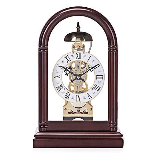 DYB Reloj de Manto, Reloj mecánico preciso, Hueco, Transparente, Nogal, Marco de Haya, Puerta Delantera, Puede Abrir, decoración de Mesa, Reloj de Mesa