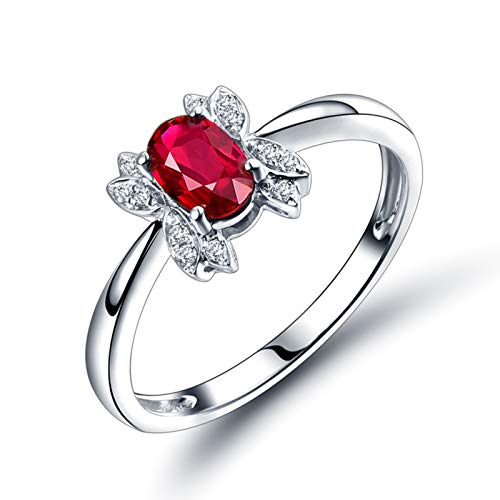 ANAZOZ Anillo de Rubi Mujer,Anillo de Compromiso Oro Blanco 18K Mujer Plata Rojo Oval Rubí Rojo 0.55ct Diamante 0.05ct Talla 13,5