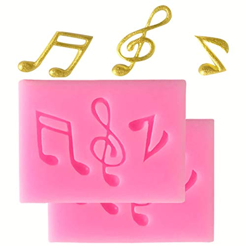 HengKe 2 Pieces Small Music Note Fondant Molds Music Party Cake Decorating Tool for Cupcake Topper, Cookie Decor, Jewelry,Chocolate, Pastry, Polymer Clay, Epoxy Resin