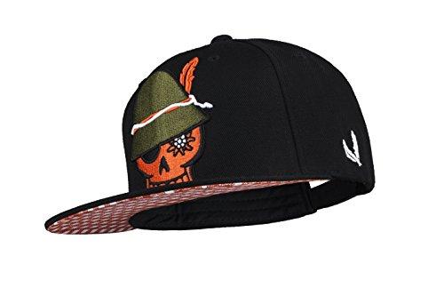 WIESNROCKER I WR1002 I Snapback-Cap I schwarze Schild-Mütze, 3D-Stick orange &...