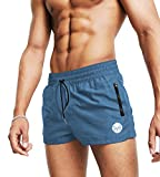 MICOZIFY Men's Gym Workout Shorts, 3' Bodybuilding Running Shorts, 3 inch Athletic Gym Shorts with Zipper Pockets Blue