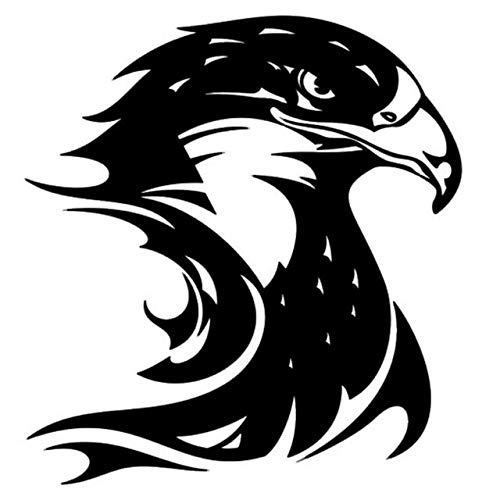 RSZHHL Sticker de Carro Etiqueta engomada del Coche 3D 13,3 * 14,2 CM Llama Fuego águila Cabeza de halcón Pegatinas de Vinilo Divertidas calcomanía en Estilo de Coche 1 Uds Negro
