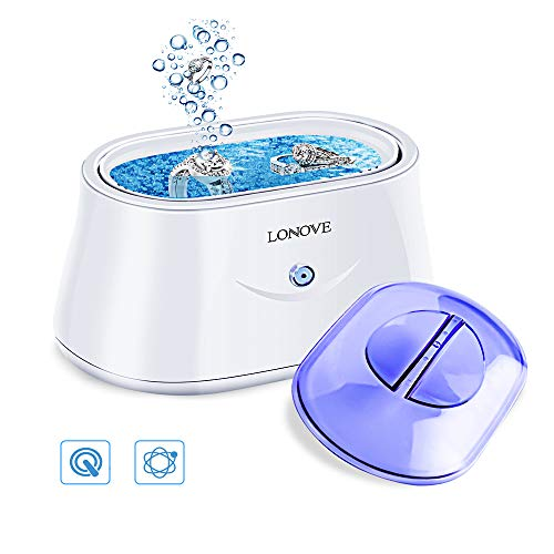 Ultrasonic Jewelry Cleaner - Professional Ultrasonic Cleaner for Rings Eyeglasses Watches Coins Tools Razors Earrings Necklaces Dentures,Portable Jewelry Cleaner Ultrasonic Machine with 25 Ounces Tank