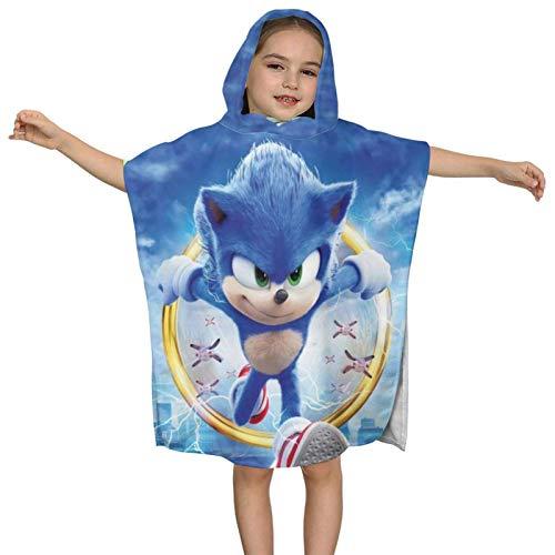 WgAmin Sonic The Hedgehog -1 Toalla de baño con Capucha para niños Albornoz de Playa Toalla de algodón Absorbente súper Suave 60x60x28cm