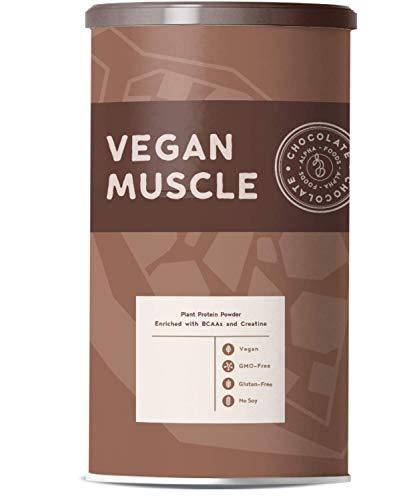 Vegan Muscle SCHOKOLADE - Pflanzliches Protein aus gekeimten Samen, mit BCAA und Creatin - 600g Pulver