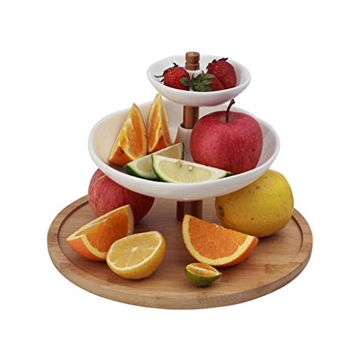 Fruit Tray, European-style Creative Three-layer Ceramic Fruit Holder, Simple Home Decoration Bamboo And Wood Bracket Fruit Tray, White, 10.4 * 7.8in (Color : White, Size : 26.5 * 20CM)