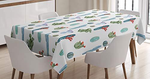 ABAKUHAUS Blume Tischdecke, Aquarell Kaktus Pflanze, Für den Inn und Outdoor Bereich geeignet Waschbar Druck Klar Kein Verblassen, 140 x 200 cm, Grün und Blau