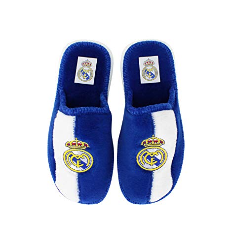 Andinas - Zapatillas de casa Real Madrid Oficial - Blanco-Azul, 42