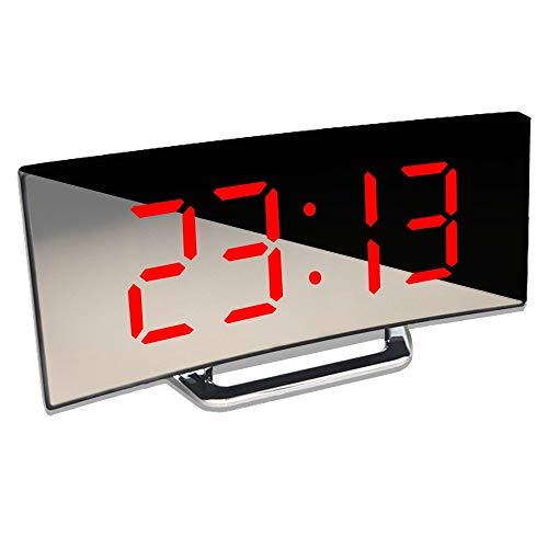 LYLY Reloj despertador digital de mesa de escritorio con pantalla LED curvada para niños, dormitorio, función de repetición de temperatura, decoración del hogar, fácil de configurar (color: rojo)