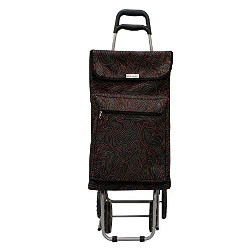 Amig - Carro de la Compra Termo Modelo 5 | 4 Ruedas | Color Negro Estampado | Capacidad 48L | Carga máxima 15kg