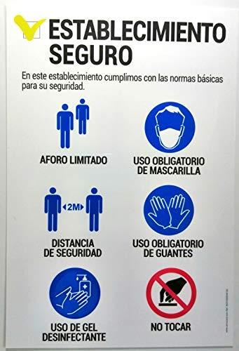 akrocard - Cartel Resistente PVC - ESTABLECIMIENTO SEGURO - Señaletica COVID 19 medidas basicas de seguridad- señal Ideal para comercios, tiendas, locales