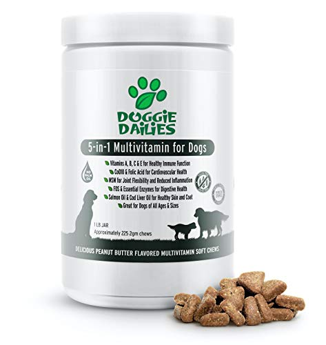 (25% OFF Coupon) Doggie Dailies 5 in 1 Multivitamin for Skin & Coat Soft Chews for Dogs Made in USA $20.99