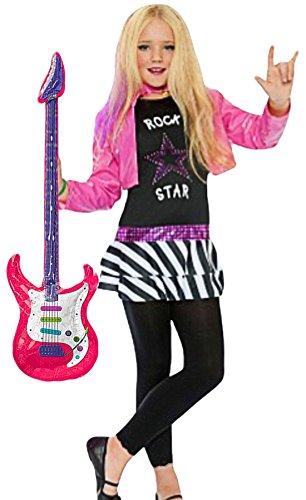 erdbeerclown - Mädchen Rockstar Miley Komplettkostüm Kind- Rock Pop inklusive aufblasbare Gitarre, pink, 6-8 Jahre
