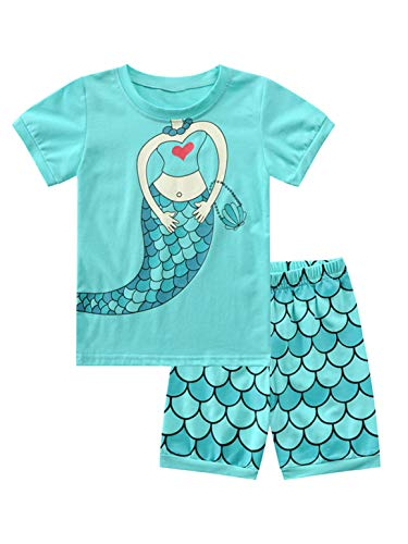 inlzdz Pijama Niña Verano Ropa de Niña con Dibujo Animado de Sirenita Set 2 Piezas Pantalones Cortos Niña y Camiseta Tops Manga Corta Azul Lago 5-6 años