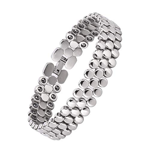 Magnetic Bracelets for Women,Titanium Magnetic Therapy Bracelets for Pain Relief Arthritis Bracelet for Women with Hematite Element(Silver)