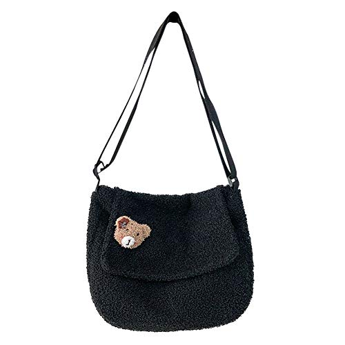 Casual Plush Shoulder Handbag Portable Women Autumn Winter Large Capacity Crossbody Bag Street Travel Pouch