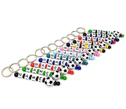Schlüsselanhänger mit Namen Kinder Gravur beschriftbar Motivperle Fußball Schultasche Rucksack Kindergartentasche Schlüsselring Vereinsfarben mit Name | Junge Mädchen Namenskette