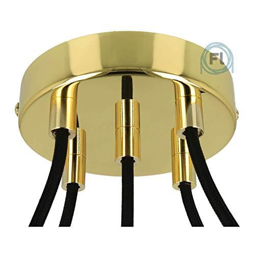 Flairlux All-in-One Baldachin für Lampe 5 Loch Metall messing rund 120x25mm inkl Wago Klemmen, Klemmnippel zylindrisch