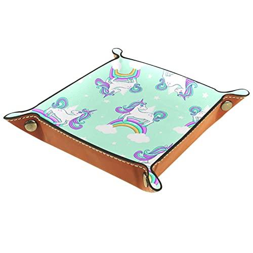 Bandeja cuadrada de microfibra con diseño de nubes de arcoíris con diseño de unicornio para joyas, anillos, pendientes, collares, baratijas y almacenamiento para exhibición de joyas