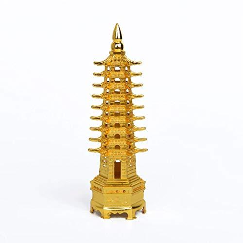 Desktop-Skulptur Skulptur Feng Shui Vergoldet Neunstöckiger Wenchang-Turm Offen, um das Lernen zu erleichtern