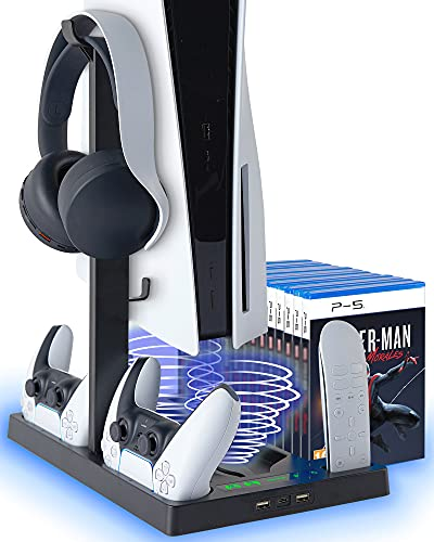HAPROUND PS5 Vertical Stand with Cooling Fan and Dual Controller Charger - Indicator Lamps and 15 Game Slots, Fast Cooling through Metal Base, PS5 Console Compatible