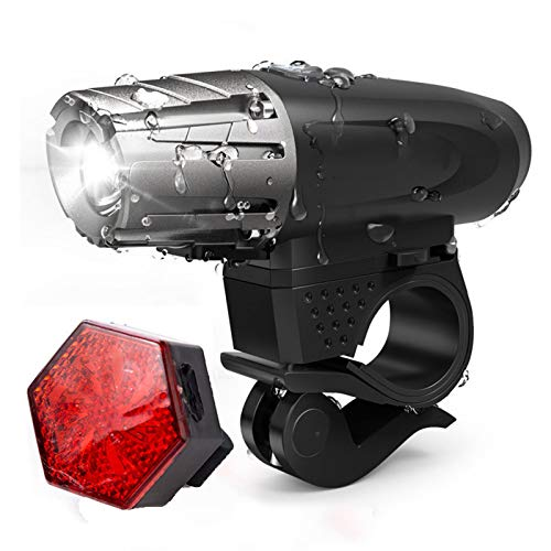 HBOY Juego de luces de bicicleta recargable por USB, superbrillante con luz trasera, IPX6, resistente al agua, potente faro para bicicleta apto para todas las bicicletas, montaña, carretera