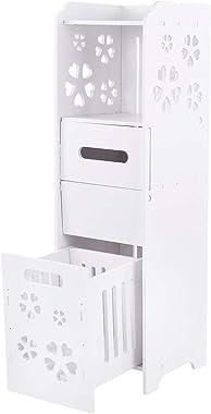 GOTOTOP Armarios de Suelo de baño de 3 Niveles, Mueble Auxiliar Columna de Baño Impermeable Blanco 23.5 x 23 x 80 cm
