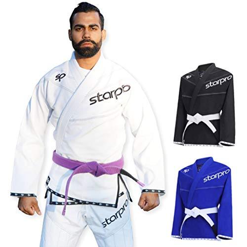 Starpro BJJ Gi de algodón - Kimono Jiu Jitsu Artes Marciales Profesionales Preencogido para Entrenamiento y competición - Hombres y Mujeres- A0 A1 A2 A3 A4 A5 - Blanco, Negro, Azul