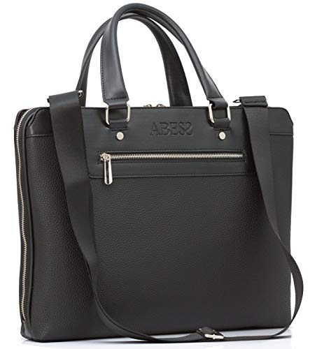 ABESS Briefcase, Quality Briefcase with Laptop Compartments, Notebook Bag (Black)