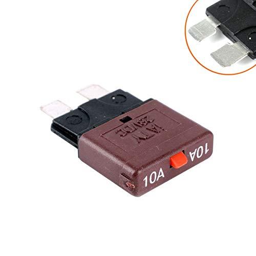 SHENLIJUAN Auto-Sicherung 10A / Sicherungsleistungsschalter mit mittlerer Rückstellung/Überlastschutz/Sicherungsstecker einsetzen (Color : Brown)