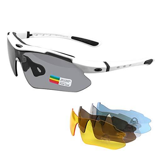 MOVIGOR Occhiali sportivi da ciclismo, da donna, da uomo, polarizzati UV400, protezione con 5 lenti intercambiabili, per sport all'aria aperta, ciclismo, motociclismo, corsa, pesca, golf