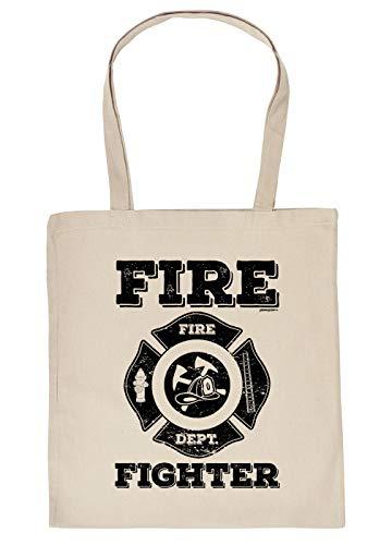 Feuerwehr-Sprüche/Statement Trage-Einkaufstasche/Stoffbeutel mit Druck: Fire Fighter Fire Dept.