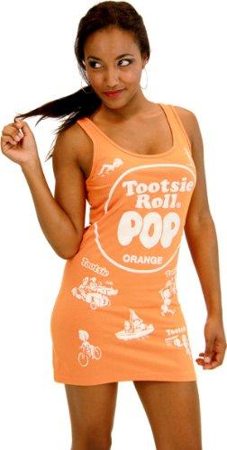 Tootsie Roll Pop Candy Orange Kostüm Tank Kleid (Kinder X-Small)