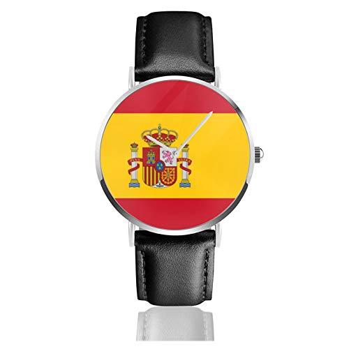 Bandera de España - Reloj de pulsera de acero inoxidable con correa de cuero negro