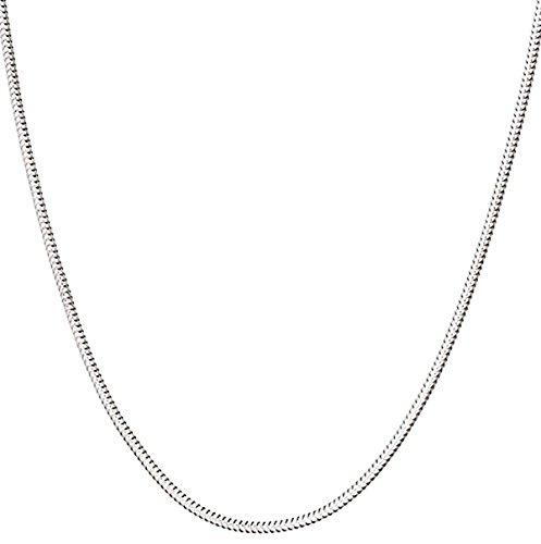 Collar de cadena de serpiente de plata de ley 925 italiana de 1 mm, 1,2 mm, 3 mm hecho a mano, delgado, ligero, fuerte, cierre de mosquetón con cierre extra