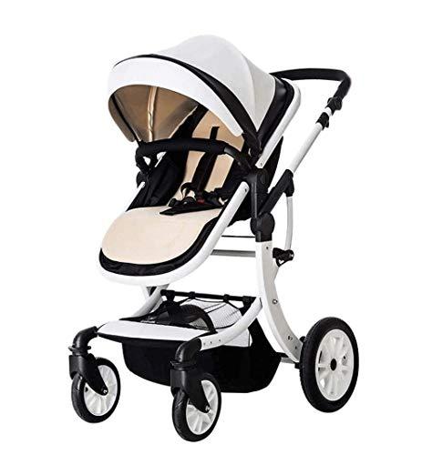 SMSOM Cochecito de bebé, mamá caliente carro de bebé con los asientos de altura ajustable en ángulo y cuatro ruedas absorción de choque, 3 en 1 Cochecito infantil de alta del paisaje y de Fashional de