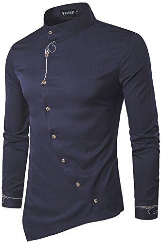 WHATLEES Herren urban Basic lang geschnittenes Hemd mit asymmetrisches und aufgesticktes Design Stehkragen B404-Navy-L