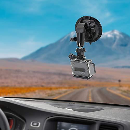 EXSHOWカメラマウント吸盤式カーフロントガラスホルダー粘着デスク付きダッシュボード取り付けるマウントデジタルカメラ/GoProHero/Canon/Garmin/Nikon/SONY/CASIO/Kodakに対応