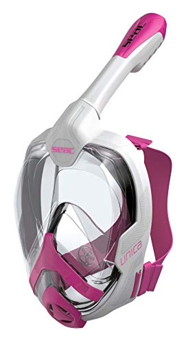 Seac Uni Junior Schnorchelmaske für Kinder ab 6 Jahren, hypoallergen Silikon, getestet und patentiert, Unisex, Unisex Kinder, 1700013001132A, Weiß/Rosa, 6+