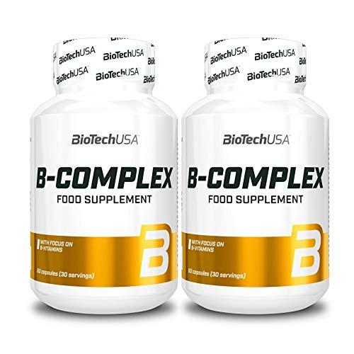 Vitamin B-Complex | Food Supplement | Contains Vitamins B6 B12 Biotin & Folic Acid (120 Capsules = 2 Bottles)