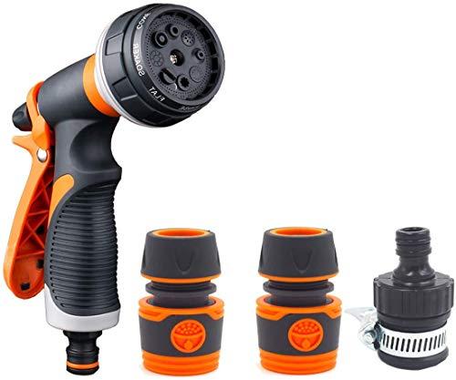 WFBD-CN Bewässerung Werkzeuge Gartenschlauch Spray Set 8 Patterns Hochdruckdüse, Anti-Rutsch-Design, ideal for Bewässerungs-Anlagen Autowäsche Dusche Haustier automatische Sprinkler