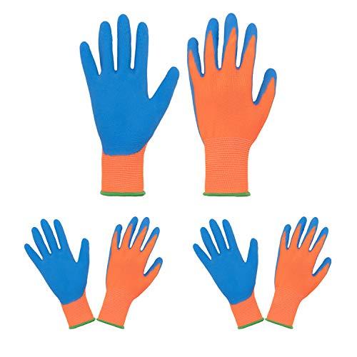 Guantes de jardinería para niños de 2 a 13 años, 3 pares de guantes de jardín de espuma con revestimiento de goma para niños y niñas, guantes de jardín (talla 3, naranja/azul)