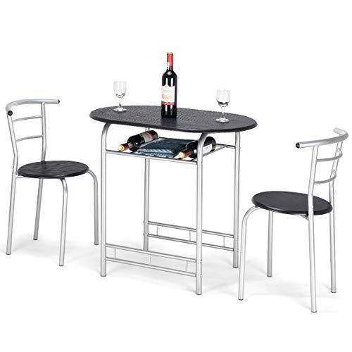 COSTWAY 3tlg. Küchenbar, Sitzgruppe Küche, Esstisch mit 2 Stühlen, Balkonset (schwarz)